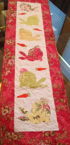 Easter/Spring Quilted Table Runner Appliqued by CottageChicQuilts