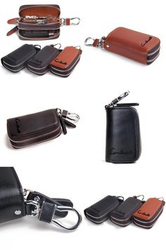 772efd3dc68 [Visit to Buy] Classic New Double Zipper Men's Genuine Cow Leather Car Key  Holder Multifuncation Housekeeper High Class Motor Keys Case Wallets