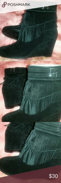 Ankle Wedge Boots All suede,  inside zipper,  above the ankle,  3 inch wedge AEROSOLES Shoes Ankle Boots & Booties