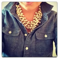 Pearls with denim.