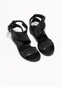 & Other Stories image 2 of Perforated Leather Sandals in Black