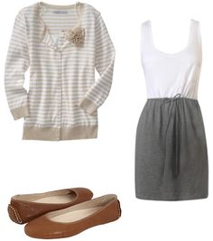 Grey white tank dress with striped cardigan and flats.