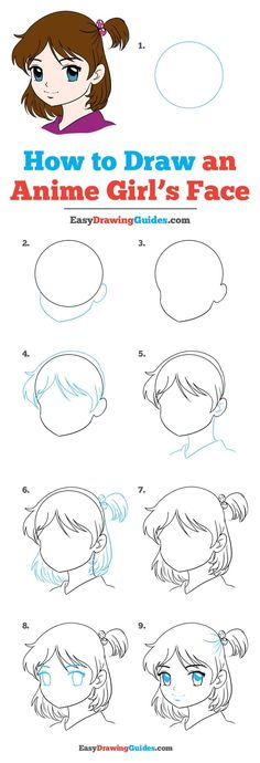 How to Draw an Anime Girl Face – Really Easy Drawing Tutorial Learn How to Draw an Anime Girl: Easy Step-by-Step Drawing Tutorial for Kids and Beginners. See the full tutorial at easydrawingguides…. Easy Drawing Tutorial, Girl Drawing Easy, Cartoon Girl Drawing, Drawing For Kids, Girl Cartoon, Learn Drawing, Manga Drawing Books, Wie Zeichnet Man Manga, Drawing Tutorials For Beginners