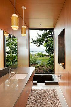 Granite - complex, Concrete, Modern, Built-in bookshelves/cabinets, European, Undermount, Pendant