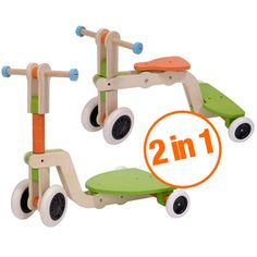 $140 Mishi Design Surf Up Transformable 2-in-1 Wooden Toy that Grows with Your Child - Toddler Trike to Scooter - Suitable for Ages 18-72 Months