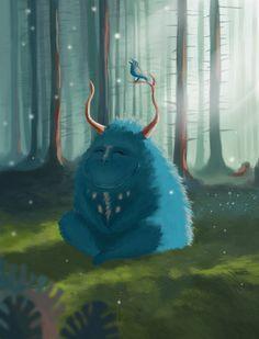 Life is wonderful  #wood #green #monster #berd #cute monster #forest #illustration