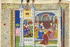 A wedding present for Margaret of Anjou and Henry VI    The Shrewsbury Book is one of the most remarkable manuscripts in the Old Royal library. It was a gift to Margaret of Anjou from John Talbot, 1st Earl of Shrewsbury. Margaret is shown with her husband Henry VI.    The Shrewsbury Book  Rouen, 1444–45  British Library, Royal 15 E. vi, ff. 2v