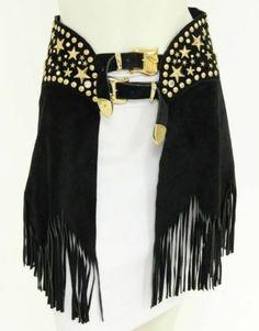 K-Baumann-Black-Suede-Leather-Gold-Tone-Studded-Fringe-Belt-Size-Medium