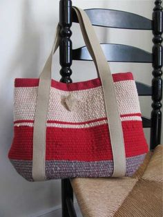 Tote Bag Handwoven Wool Recycled Rag Fire Red by aclhandweaver, $295.00
