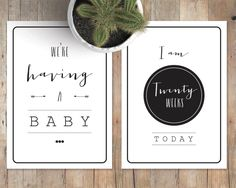 Monochrome Pregnancy Milestone Cards by PaperLaurelDesigns on Etsy https://www.etsy.com/listing/248445600/monochrome-pregnancy-milestone-cards