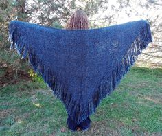 Blue Shawl Handwoven Large Hand Loomed Woven Triangle Shawl Wrap Dark Sapphire Blue handmade by SticksNStonesGifts