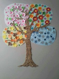 Beautiful for Botany! I like this idea for a seasons art project. Preschool Crafts, Crafts For Kids, Arts And Crafts, Paper Crafts, Daycare Crafts, Projects For Kids, Diy For Kids, Art Projects, Project Ideas