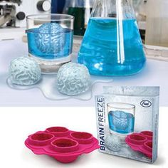Give party guests something to giggle about with brain-shaped ice cubes chilling the cocktails. Crafted from strong, durable silicone, the tray makes up to 4 cubes at a time. Great for Halloween gathe
