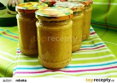 Cuketová hořčice recept - TopRecepty.cz Korn, Pickles, Kimchi, Cucumber, Zucchini, Mustard, Peanut Butter, Frozen, Food And Drink