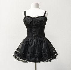 Steampunk bustier corset dress black corset dress by CivisMundi
