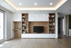 한샘ik : 토탈 홈인테리어 리모델링의 모든 것 Living Room Bookcase, Living Room Wall Units, Living Room Tv Unit Designs, Living Room Cabinets, Small Apartment Interior, Living Room Interior, Home Living Room, Home Interior Design, Tv Cabinet Design