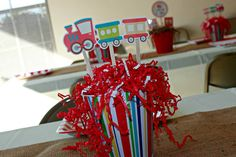 Train party centerpieces