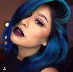 #Bob #Weave #SideBangs #Blue