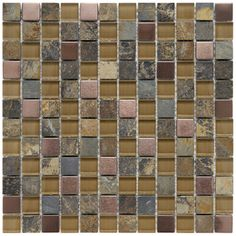 @Overstock - Perfect for a backsplash or bathroom, these multi-colored glass mosaic tiles feature glass metal and natural stone. An unglazed textured surface with a high/low sheen adds depth and character to these easy-to-install indoor or outdoor tiles. http://www.overstock.com/Home-Garden/Somertile-Basilica-1-inch-Alloy-Copper-Stone-and-Glass-Mosaic-Tiles-Pack-of-10/5784898/product.html?CID=214117 $130.49