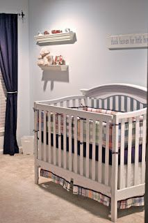 Our Pottery Barn Madras nursery for Harrison love the wall color