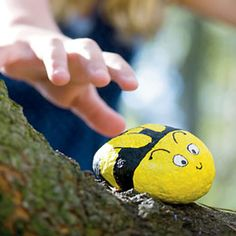 Hide a pretend bee (we used a painted rock) in plain sight somewhere around the group campsite and challenge young campers to find it. The first to locate the bee gets to hide it for the next round!