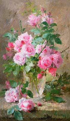 Still life of roses in a glass vase - Frans Mortelmans.