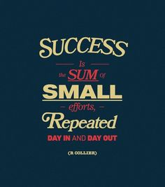 Success is the sum of small efforts, repeated day in and day out. Robert Collier  #posters #quotes