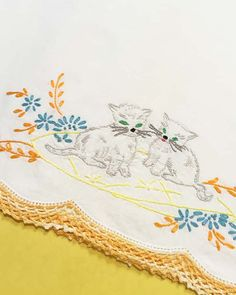 Cat Pillow Case, Cat Embroidery, Girls Pillowcase, Cat Pillow, Vintage Embroidery, Standard Size, Girls Vintage Decor, Kitty Pillowcase