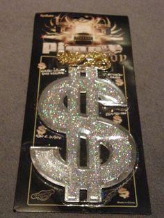 Bling Dollar Sign Pimp Gangster Necklace Jewellery Fancy Dress $4.95