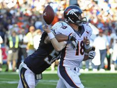 Denver Broncos quarterback Peyton Manning fumbles as he is hit by San Diego Chargers outside linebacker Tourek Williams during the third qua...