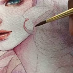 Margaret Morales is a visual designer, painter. Continue Reading and for more watercolor art → View Website Watercolor Artists, Watercolor Drawing, Watercolor Portraits, Watercolor Paintings, Cute Small Drawings, Mermaid Sketch, Drawing Reference, Art World, Art Day