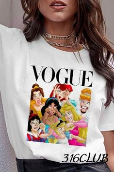 Graphic T Shirts, Vogue, Street Outfit, Street Wear, Funny Princess, Korean Tops, Funny Tee Shirts, T Shirts For Women, Tank Tops