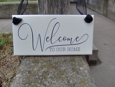 Welcome To Our Home Wood Sign Custom Outdoor Vinyl Sign for Home Country Cottage Style Decor for Entry Porch Door or Wall Plaque Decoration Porch Doors, Entry Doors, Porch Signs, Door Signs, Outdoor Signage, Outdoor Decor, Front Yard Decor, Welcome Wood Sign, Wood Signs For Home
