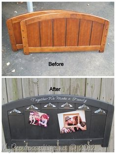Old twin headboard repurposed as family message board