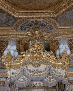 Details over Marie Antoinette's bed at Chateau Versailles,France