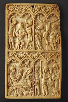 France. Carved ivory writing tablet.Third quarter of 14th century (1300 to 1400). Size: 13cm high / 7.5cm wide / 5 ins high / 3 ins wide... OnlineGalleries.com