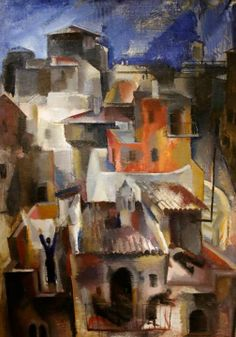 """""""Italian Town"""" (1929) By Vilmos Aba-Novák, from Hungary (1894 - 1941) - oil painting - © Hungarian National Gallery, Budapest http://www.mng.hu/en"""