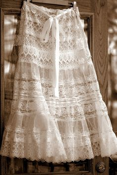 All White Lace Petticoat Skirt Steampunk Clothing by LaBelleFairy on Antique Lace, Vintage Lace, Bohemian Style, Boho Chic, Dress Skirt, Lace Skirt, Peasant Skirt, Lace Maxi, Tank Dress