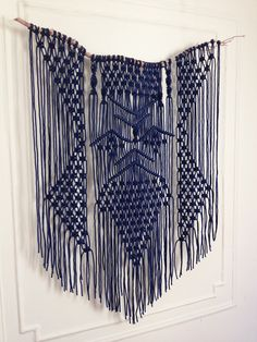 Modern   Bohemian   Custom Made   driftwood & blue macrame hanging