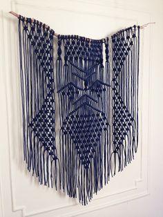 Modern | Bohemian | Custom Made | driftwood & blue macrame hanging