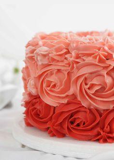 En rosekake er en festfin kake som er flott å servere i dåp, bryllup, til morsdag eller valentine. I denne oppskriften bruker sjokoladekakebunner med bringebærkrem. Kaken dekoreres med en smørkrem med vaniljesmak - se vår oppskrift!