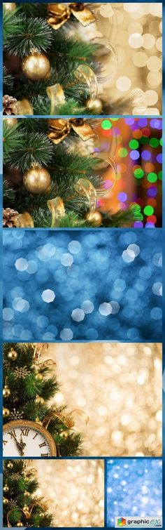 Christmas tree background with gold blurred light 6X JPEG  stock images
