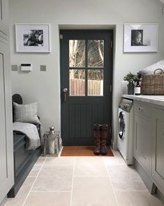 Laundry room floor @floorsofstone - Botticino Marble, I love my floor! Cushions and throw @lauraashleyuk , the perfect entrance after an…