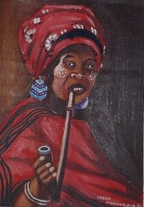 Most Xhosa women in South Africa smoke the pipe. Usually married women of the Nguni tribe smoke the pipe. The woman is wearing beautiful, red tribal attire and handmade earrings. Xhosa, African Tribes, Black Women Art, Married Woman, Tribal Art, Fine Art Gallery, African Dress, Best Mom, Beautiful Cats