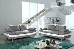 Salon fixe complet 3 + 2 en tissu gris clair et pvc blanc BIAGIO, Ensemble salon fixe - HcommeHome
