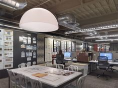 work walls, dome light central table, simple desks