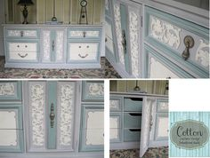 SOLD ~ Dixie brand dresser, painted with Annie Sloan Chalk Paint in Old White, Paris Grey, and Duck Egg Blue. Distressed and finished with Clear Wax. Painted Furniture For Sale, Upcycled Furniture, Paris Grey, Duck Egg Blue, Annie Sloan Chalk Paint, Custom Paint, Drawers, Dresser, Wax