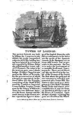 Tower of London, London, UK.    From:  1834  Views in London.     via  Google Books   (PD150)     http://suzilove.com