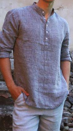 Mens Kurta Designs, Boys Kurta Design, Cool Shirts For Men, Stylish Mens Outfits, Mens Linen Outfits, Mens Casual Dress Outfits, Casual Ootd, Dope Outfits, Men Casual