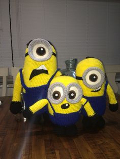Crochet minions I've made for my kids.